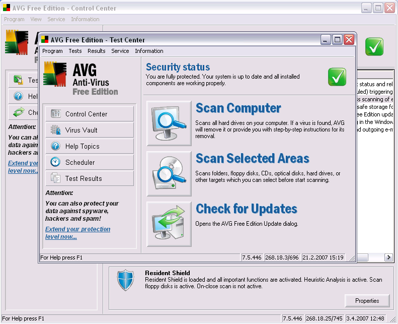 Скриншот AVG AntiVirus Free