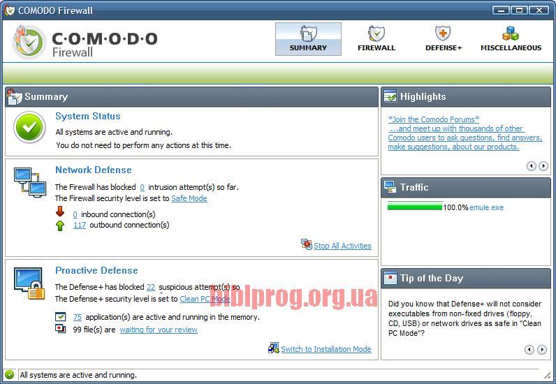 Скриншот Comodo Internet Security