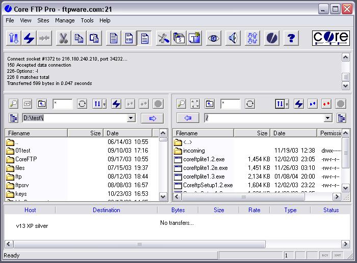 Скриншот Core FTP LE