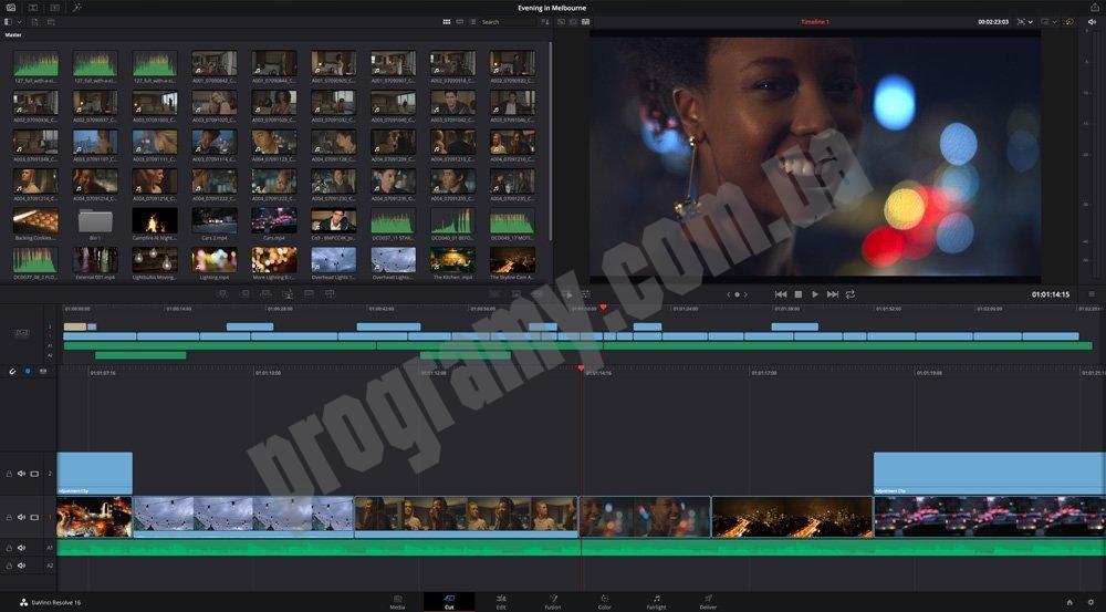 Скриншот DaVinci Resolve