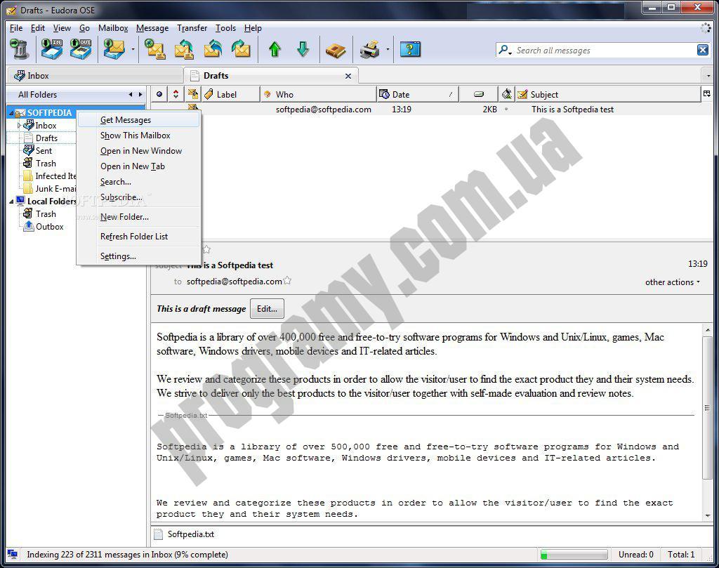 Скриншот Eudora OSE