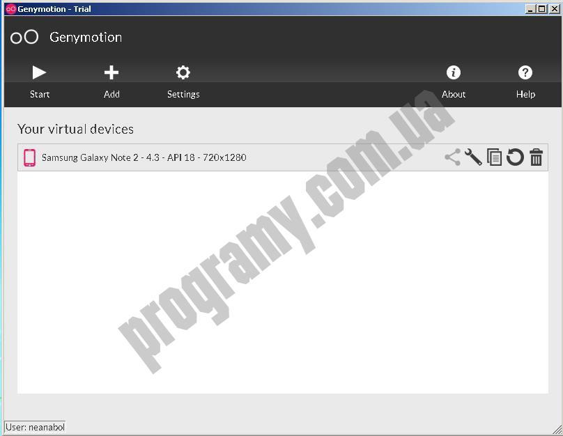 Скриншот Genymotion