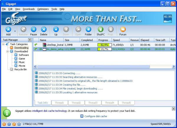 Скриншот Gigaget Download Manager