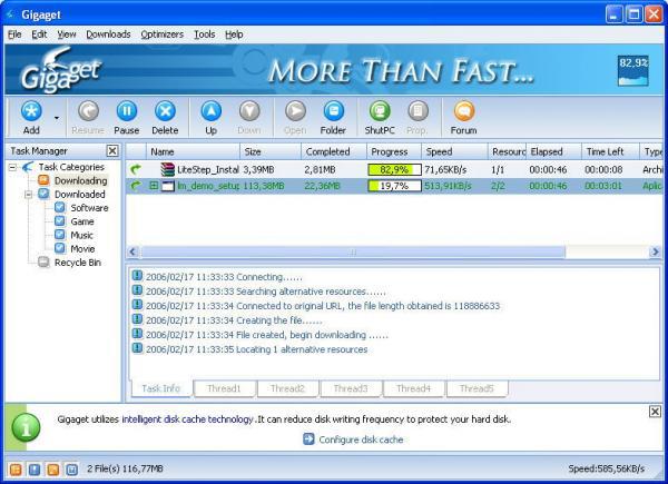 Скриншот Gigaget Download Manager