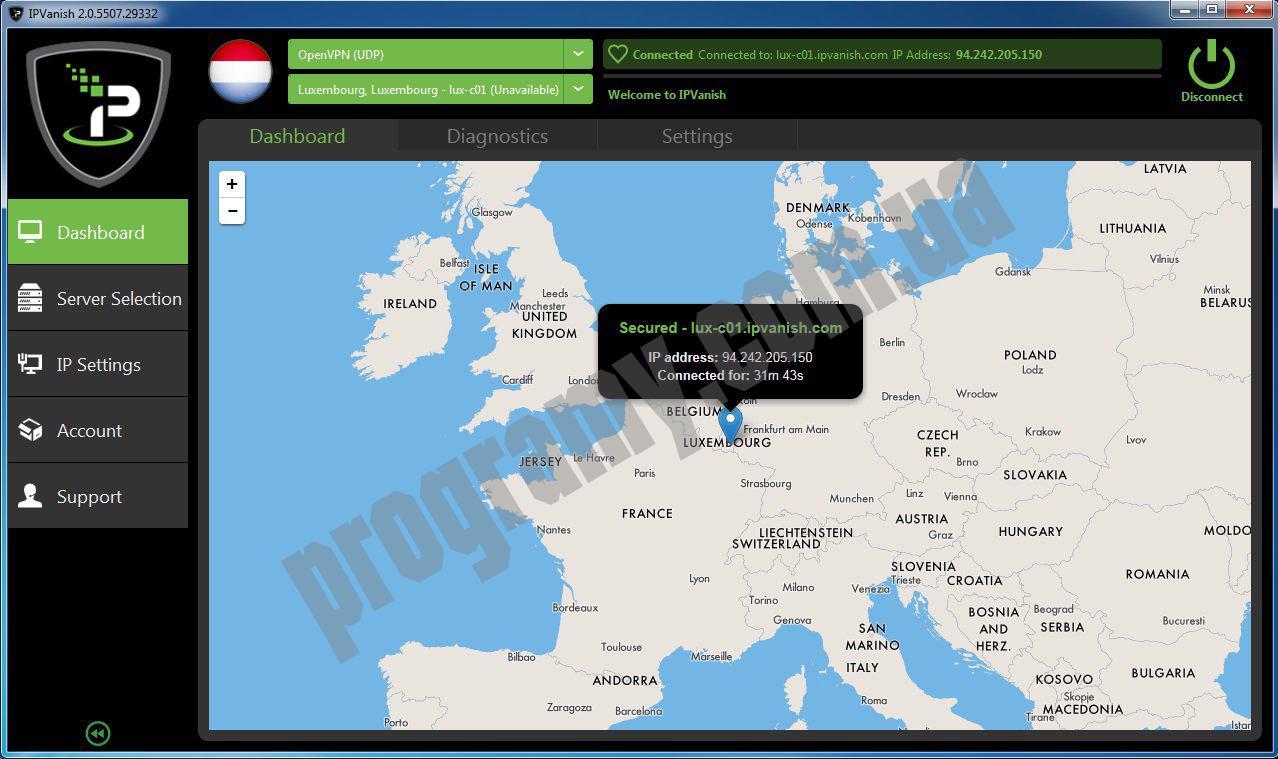 Скриншот IPVanish