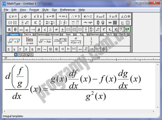Скриншот MathType