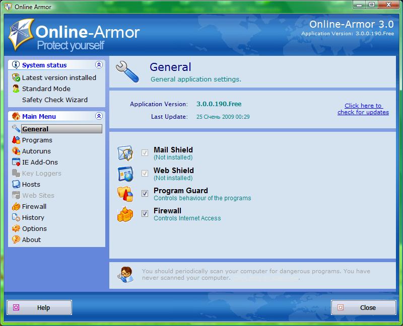 Скриншот Online Armor Free