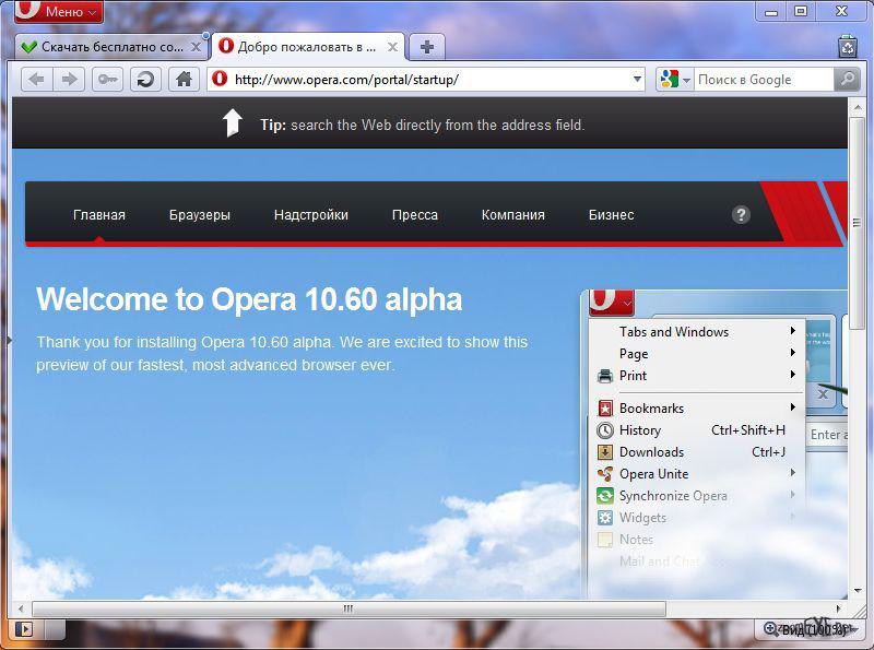 Скриншот Opera