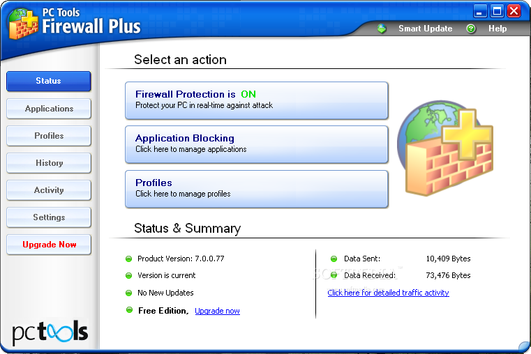 Скриншот PC Tools Firewall Plus