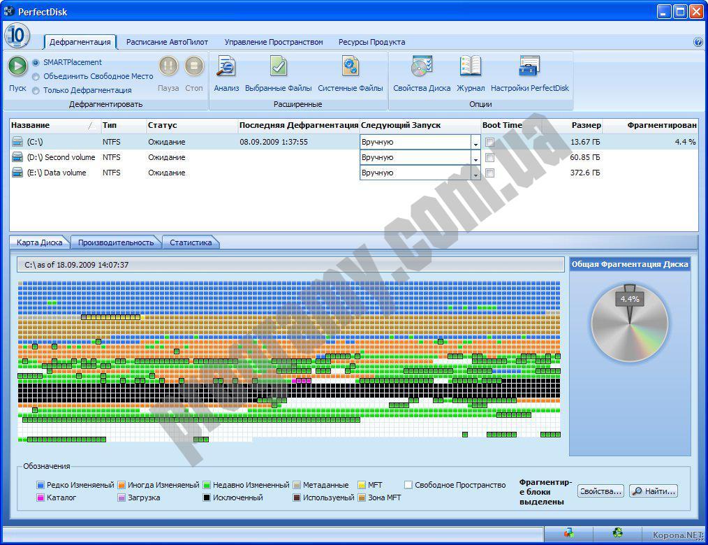 Скриншот PerfectDisk Pro