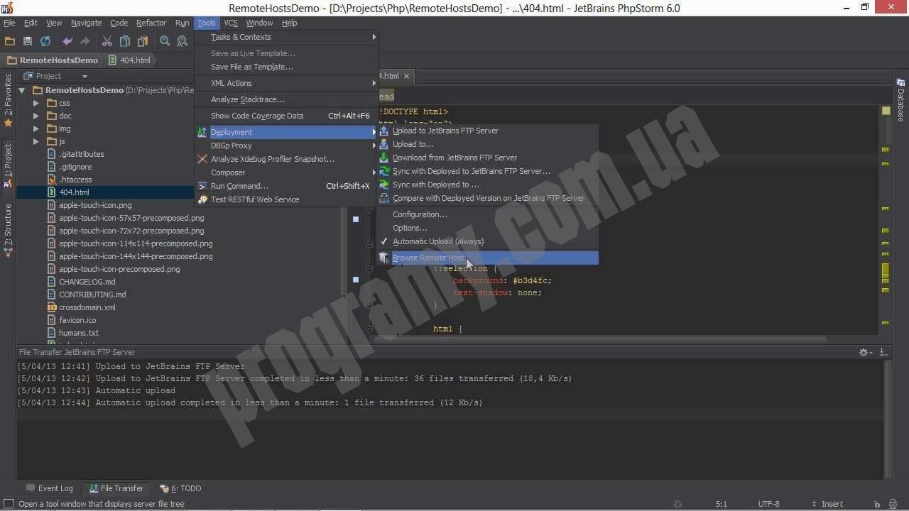 Скриншот PhpStorm
