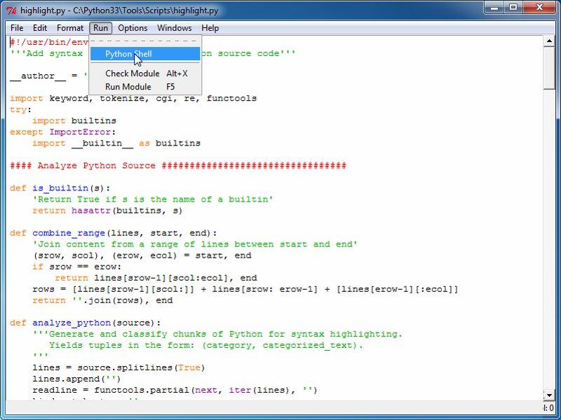 Скриншот Python