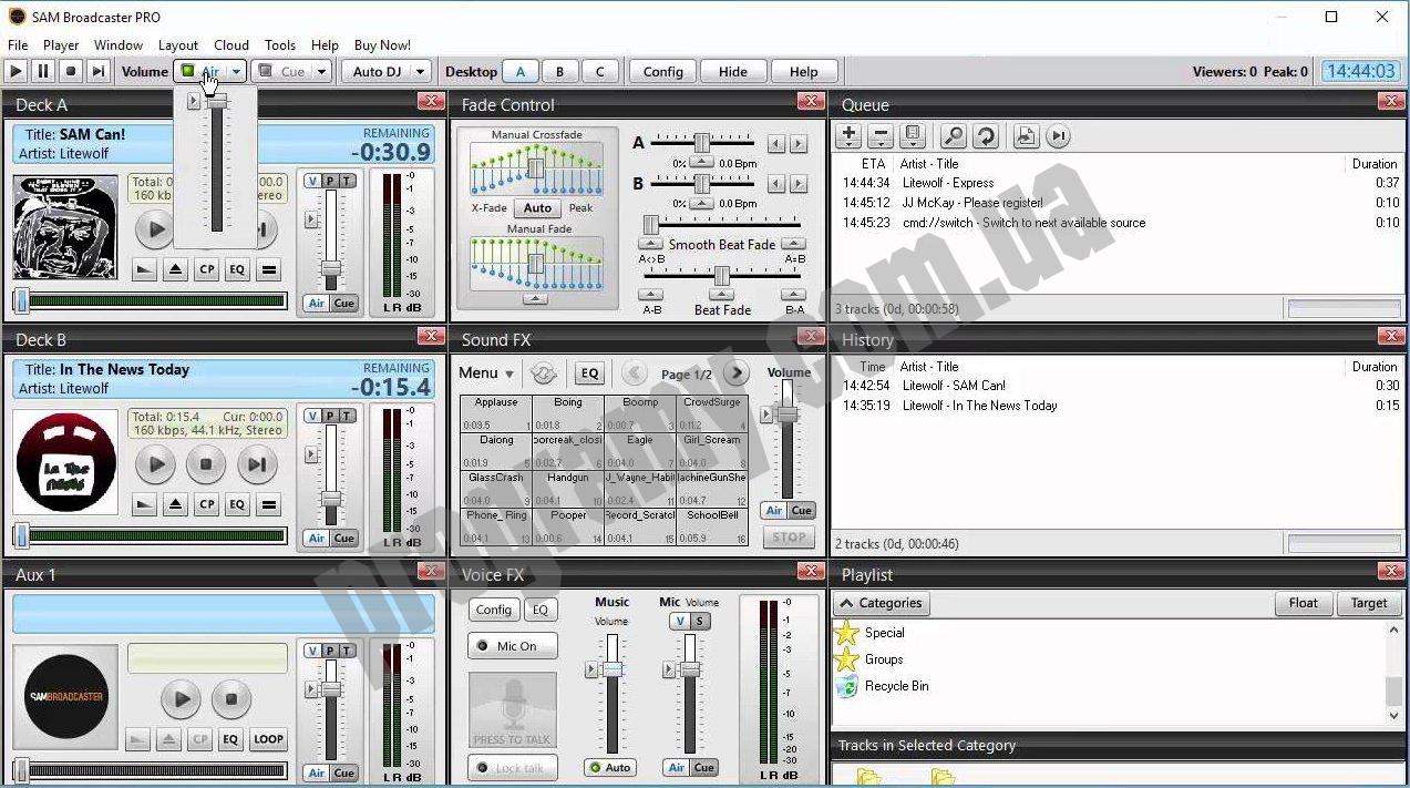 Скриншот SAM Broadcaster PRO