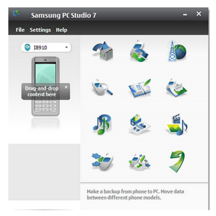 Скриншот Samsung PC Studio