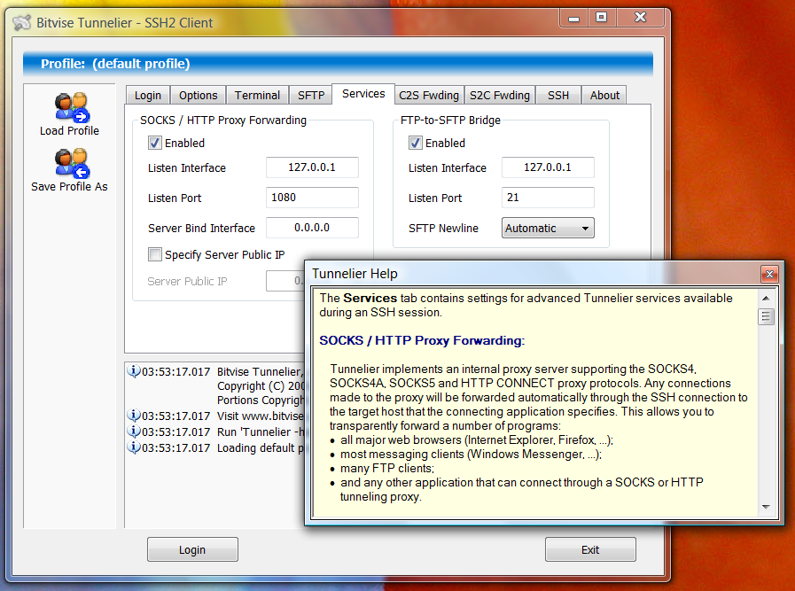 Скриншот Bitvise SSH Client