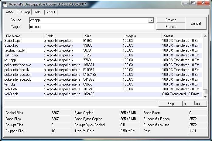 Скриншот Unstoppable copier