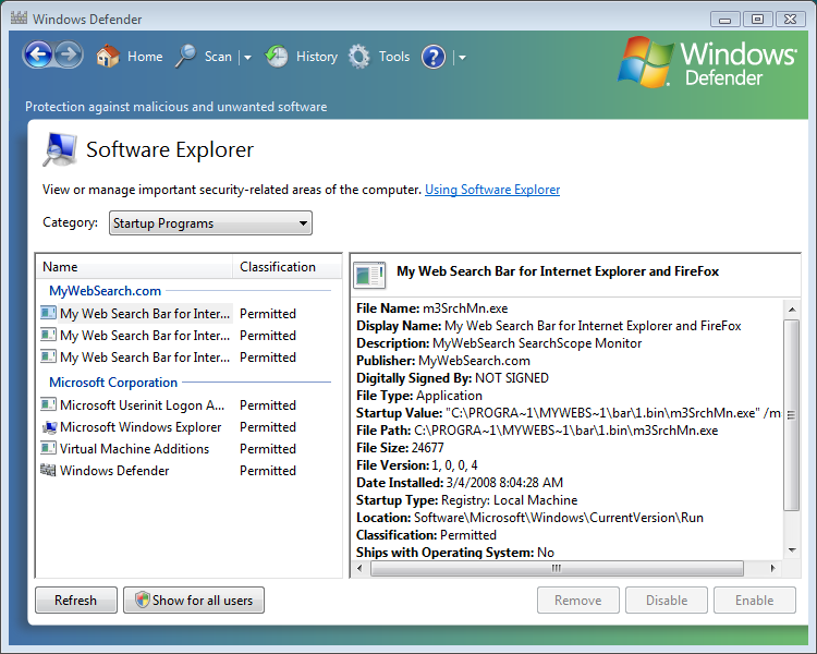 Скриншот Windows Defender XP