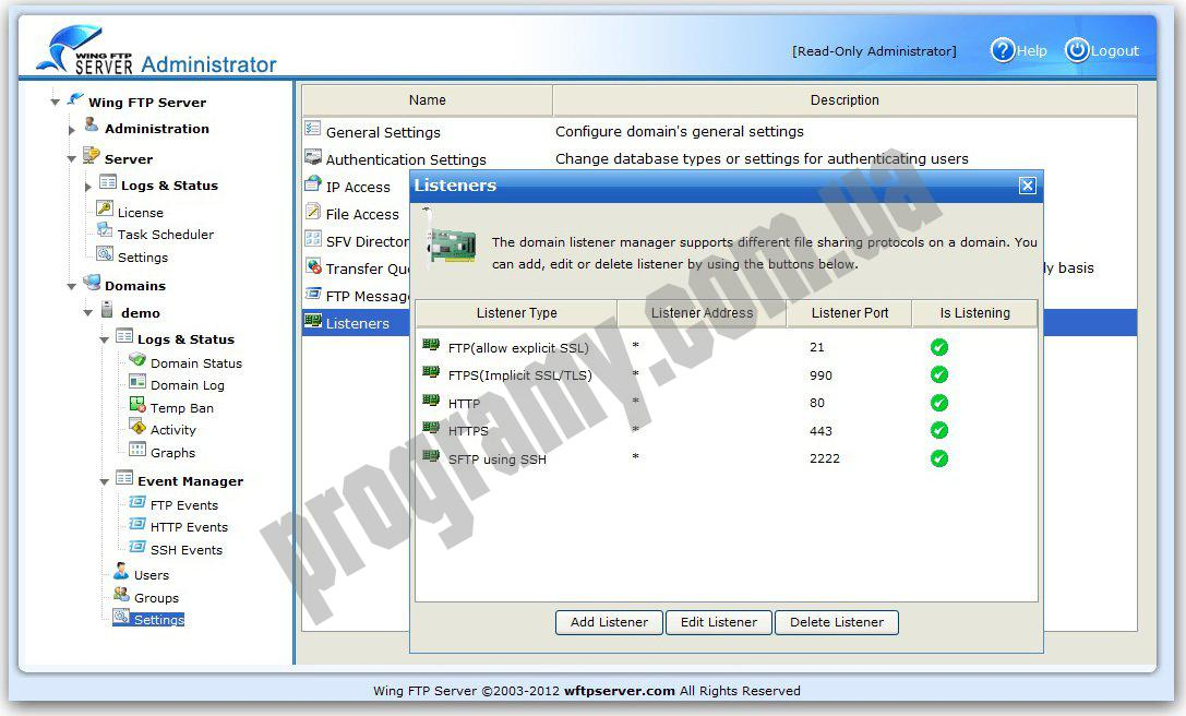Скриншот Wing FTP Server