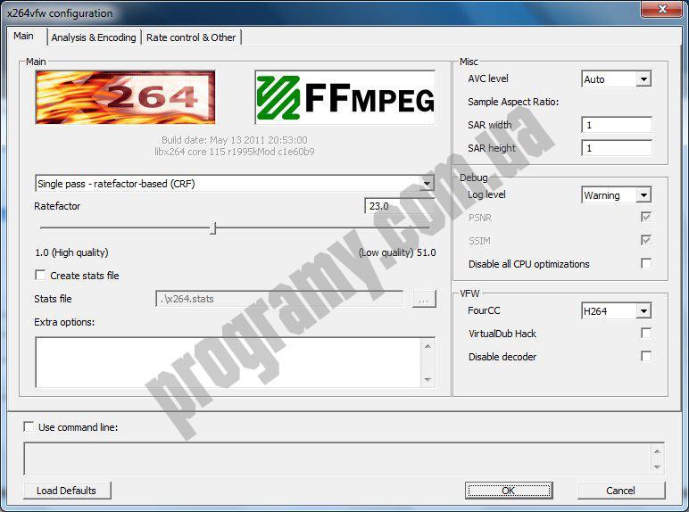 Скриншот x264 Video Codec