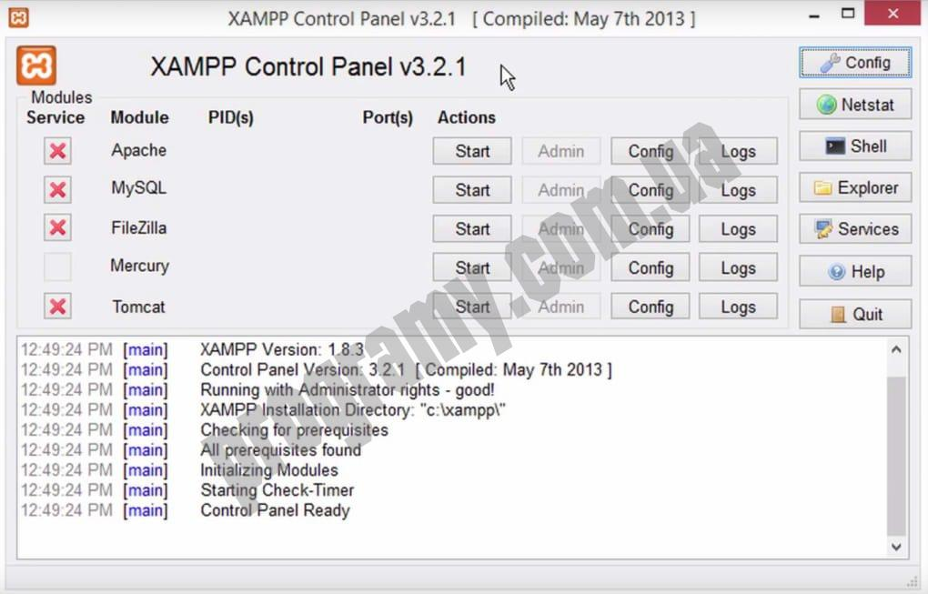 Скриншот XAMPP